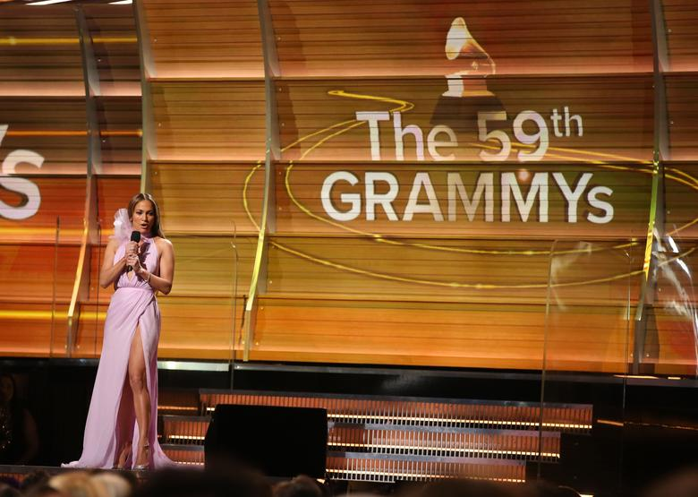 Singer Jennifer Lopez speaks at the 59th Annual Grammy Awards in Los Angeles, California, U.S. , February 12, 2017. REUTERS/Lucy Nicholson