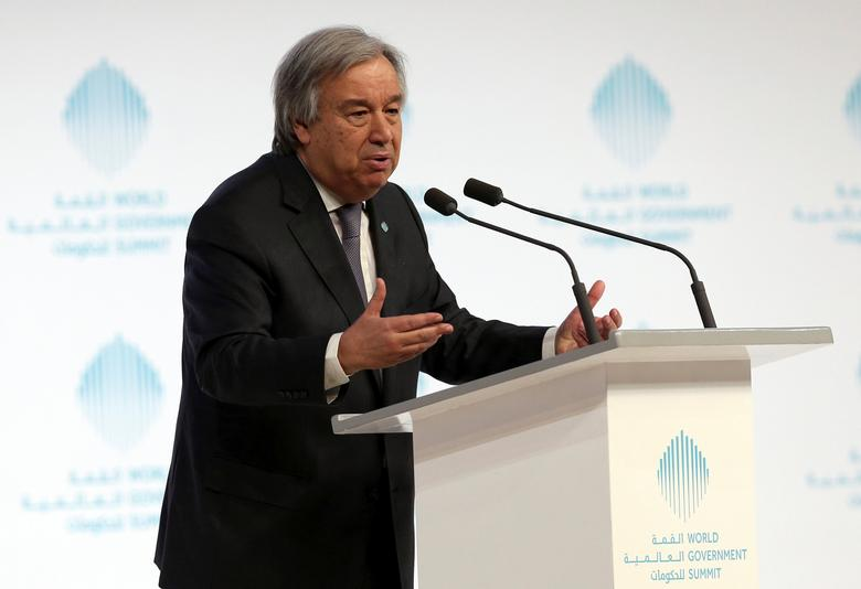 U.N. Secretary-General Antonio Guterres speaks during World Government Summit in Dubai, United Arab Emirates, February 13, 2017. REUTERS/Stringer