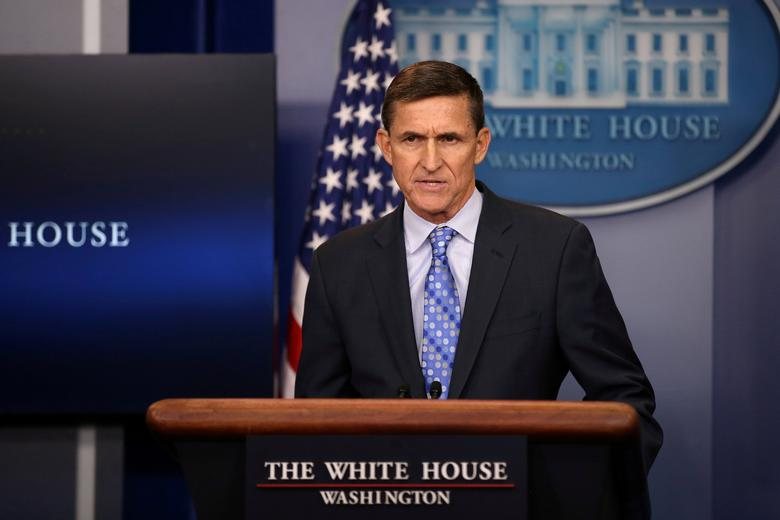 FILE PHOTO: National security adviser General Michael Flynn delivers a statement daily briefing at the White House in Washington U.S., February 1, 2017.  REUTERS/Carlos Barria/File Photo