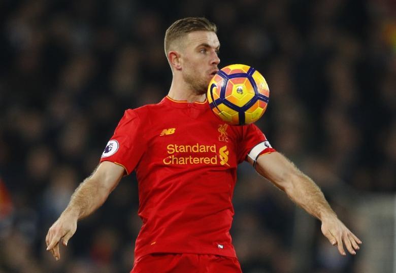 Britain Soccer Football - Liverpool v Tottenham Hotspur - Premier League - Anfield - 11/2/17 Liverpool's Jordan Henderson  Reuters / Phil Noble Livepic