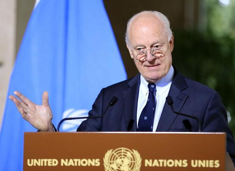 U.N. mediator for Syria Staffan de Mistura attends a news conference after a meeting at the United Nations in Geneva, Switzerland, January 12, 2017. REUTERS/Pierre Albouy