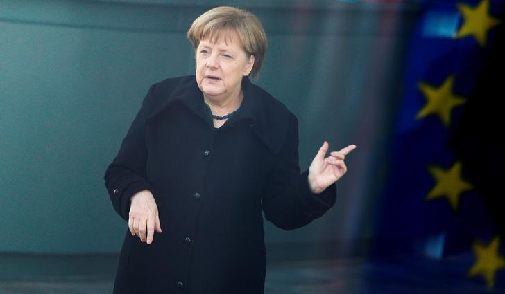 German Chancellor Angela Merkel gestures awaiting arrival of Tunisian Prime Minister Youssef Chahed  at the Chancellery in Berlin, Germany, February 14, 2017. REUTERS/Hannibal Hanschke