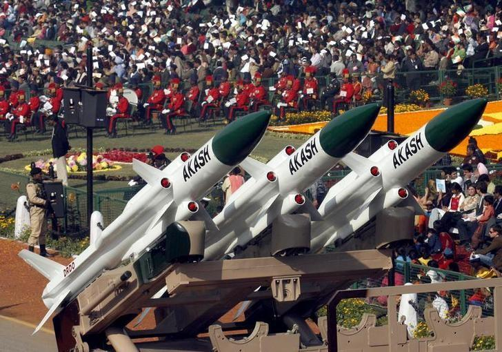 India's ''Akash'' missiles, mounted on a truck, are displayed during the Republic Day parade in New Delhi January 26, 2007. REUTERS/B Mathur/Files