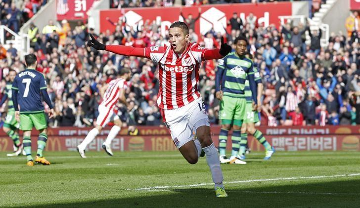 Football Soccer - Stoke City v Swansea City  - Barclays Premier League - The Britannia Stadium - 2/4/16Ibrahim Afellay celebrates after scoring the first goal for StokeMandatory Credit: Action Images / Craig Brough/ Livepic/ Files
