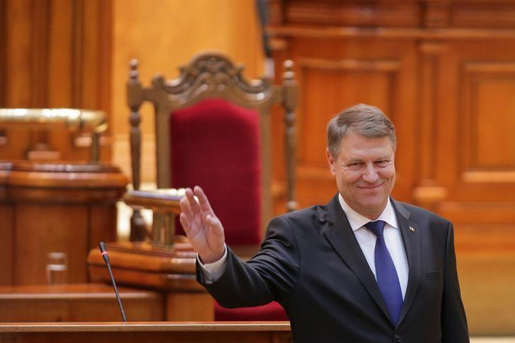 Romanian President Klaus Iohannis addresses the joint chambers of the Romanian Parliament, in Bucharest, Romania, February 7, 2017. Inquam Photos/Octav Ganea/via REUTERS