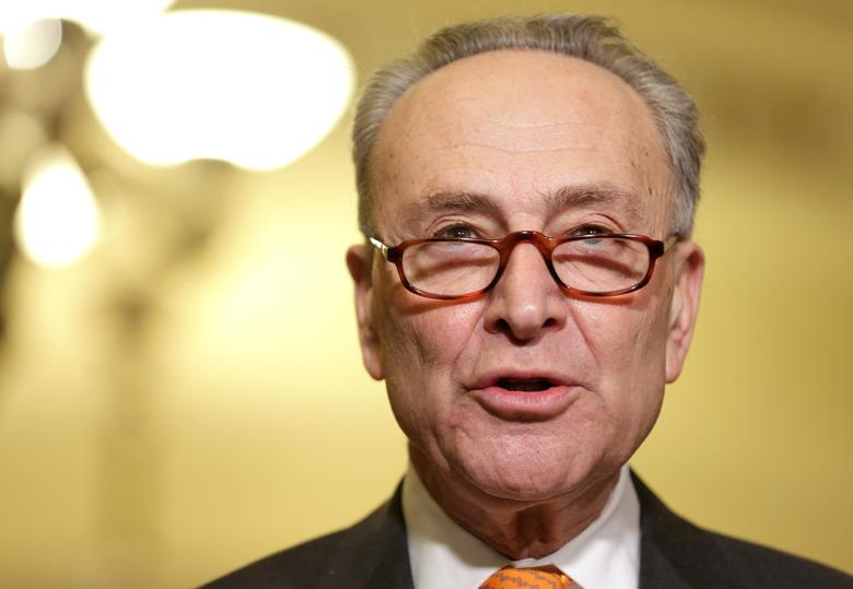 U.S. Senate Minority Leader Chuck Schumer (D-NY) speaks during a press conference on Capitol Hill in Washington, U.S. February 14, 2017.   REUTERS/Joshua Roberts