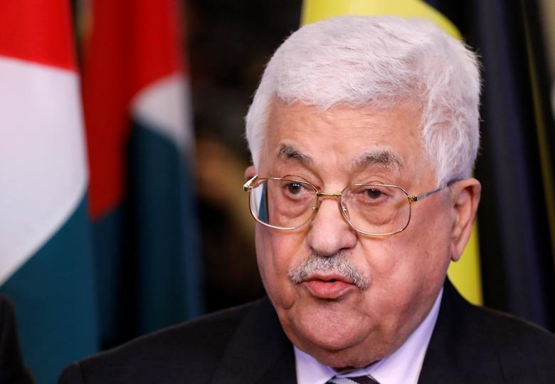 Palestinian President Mahmoud Abbas addresses reporters after a meeting with Belgian Prime Minister Charles Michel in Brussels, Belgium, February 9, 2017.   REUTERS/Yves Herman