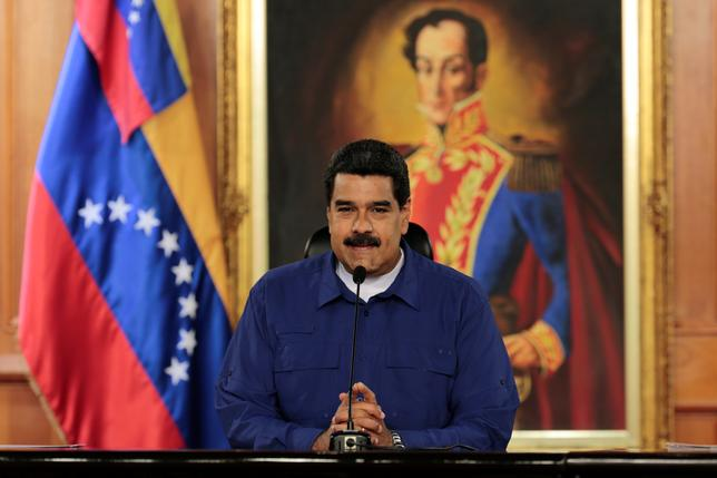 Venezuela's President Nicolas Maduro speaks during a meeting with ministers at Miraflores Palace in Caracas, Venezuela February 9, 2017. Miraflores Palace/Handout via REUTERS