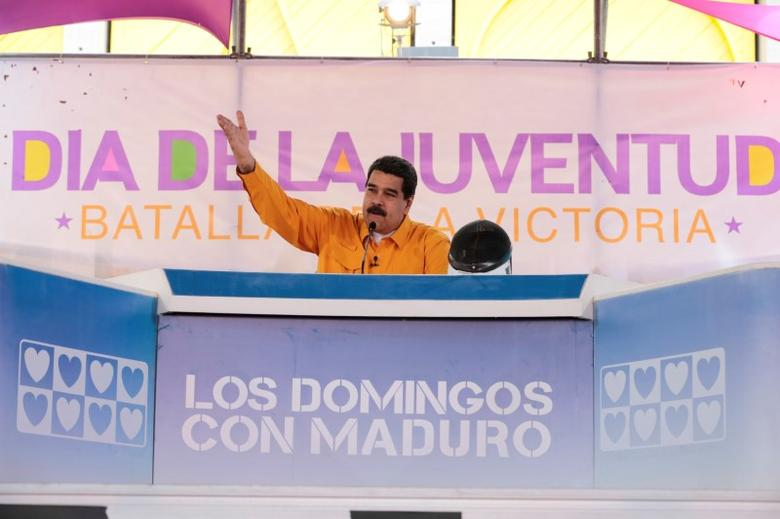 Venezuela's President Nicolas Maduro speaks during his weekly broadcast ''Los Domingos con Maduro'' (The Sundays with Maduro) in Caracas, Venezuela February 12, 2017. Miraflores Palace/Handout via REUTERS