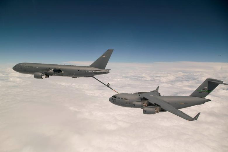 Boeing's KC-46 aerial refueling tanker conducts receiver compatibility tests with a U.S. Air Force C-17 Globemaster III from Joint Base Lewis-McChord, in Seattle, Washington, U.S., July 12, 2016.    Christopher Okula/ U.S. Air Force/Handout via REUTERS/File Photo