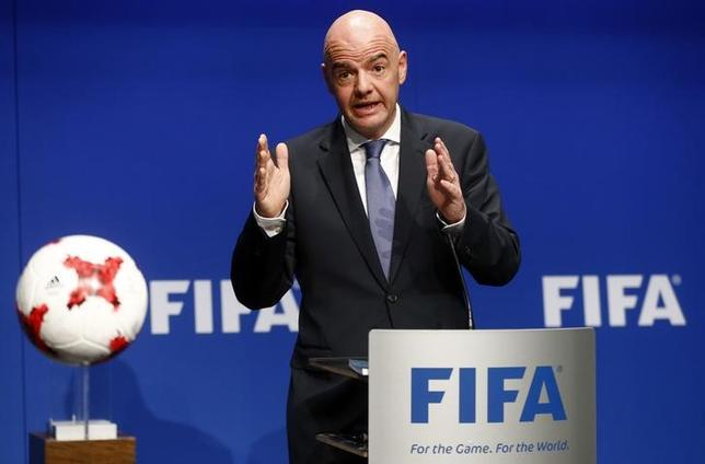 FIFA President Gianni Infantino addresses a news conference after a FIFA Council in Zurich, Switzerland, January 10, 2017. REUTERS/Arnd Wiegmann/Files