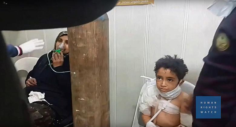 A still image from an undated video provided to Reuters on February 13, 2017, by Human Rights Watch claiming to show people treated in Aleppo, Syria, following a gas attack. Courtesy of Human Rights Watch/Handout via REUTERS