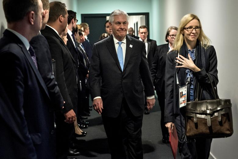 US Secretary of State Rex Tillerson (C) walks to a meeting with Russia's Foreign Minister at the World Conference Center in Bonn, Germany February 16, 2017. REUTERS/Brendan Smialowski/POOL