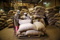 Workers arrange bags containing cocoa beans at a cocoa processing factory in Ile-Oluji village in Ondo state, southwest Nigeria March 30, 2016.   REUTERS/Akintunde Akinleye