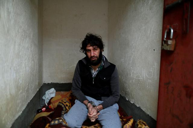 Ghaffar Abdel Rahman, 33, an Islamic State member, sits at his prison cell in Sulaimaniya, Iraq February 15, 2017. REUTERS/Zohra Bensemra