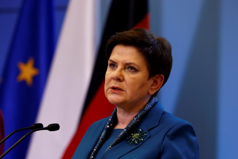 FILE PHOTO: Polish Prime minister Beata Szydlo speaks during a press conference with German Chancellor Angela Merkel in Warsaw, Poland February 7, 2017. REUTERS/Kacper Pempel
