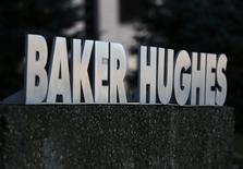 صورة لشعار شركة بيكر هيوز في مكتب لها في كندا يوم 13 نوفمبر تشرين الثاني 2016. تصوير: كريس هلجرين - رويترز