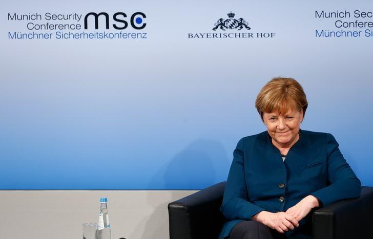 German Chancellor Angela Merkel reacts after delivering her speech during the 53rd Munich Security Conference in Munich, Germany, February 18, 2017.     REUTERS/Michaela Rehle