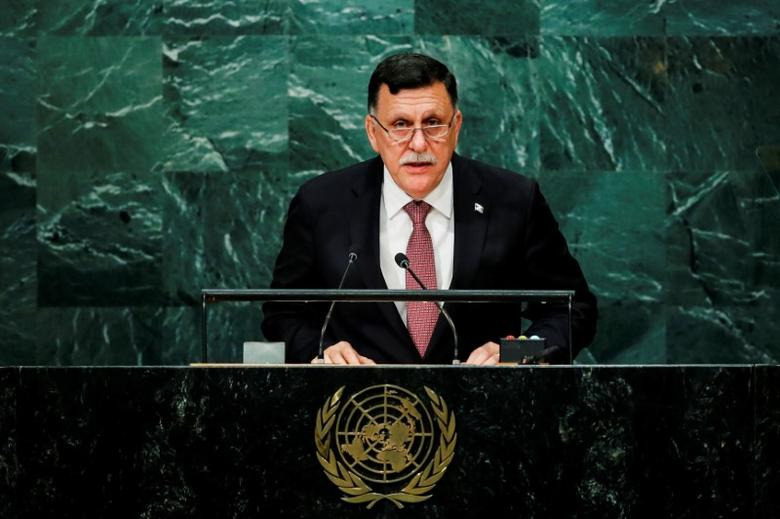 Prime Minister of Libya's unity government Fayez Seraj addresses the United Nations General Assembly in the Manhattan borough of New York, U.S., September 22, 2016.  REUTERS/Eduardo Munoz