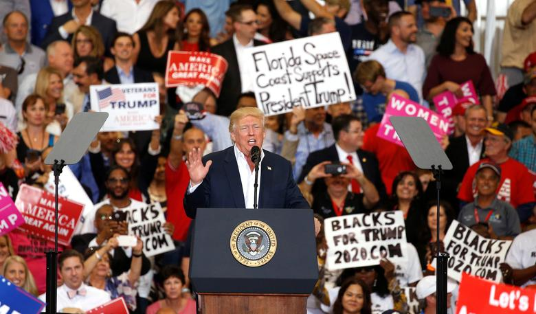 U.S. President Donald Trump speaks during his ''Make America Great Again'' rally at Orlando Melbourne International Airport in Melbourne, Florida, U.S. February 18, 2017.  REUTERS/Kevin Lamarque