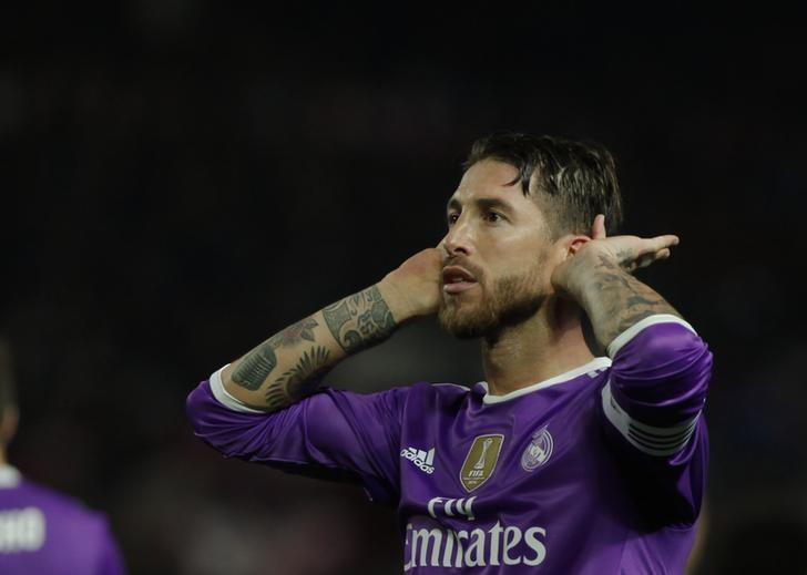 Football Soccer - Sevilla v Real Madrid - Spanish King's Cup - Ramon Sanchez Pizjuan stadium, Seville, Spain - 12/01/17  Real Madrid's Sergio Ramos celebrates after scoring his first goal. REUTERS/Jon Nazca