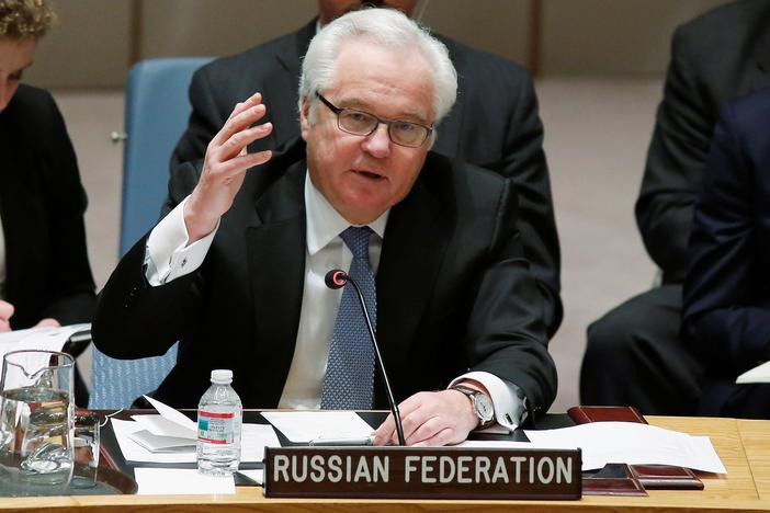FILE PHOTO - Russian Ambassador to the United Nations Vitaly Churkin addresses members of the U.N. Security Council during a meeting about the Ukraine situation, at the U.N. headquarters in New York, March 6, 2015. REUTERS/Eduardo Munoz/File Photo