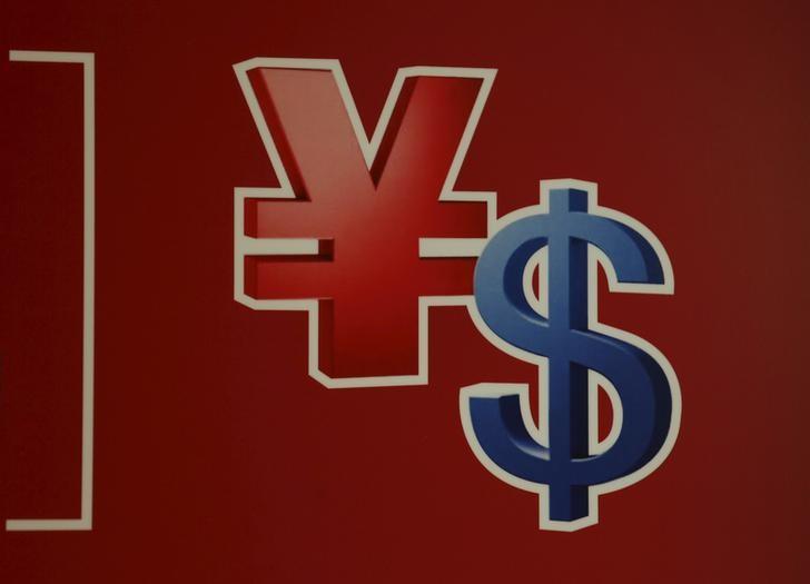 2015年11月12日,香港,自动柜员机上的人民币和美元标志。REUTERS/Bobby Yip
