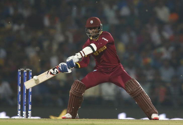 Cricket - South Africa v West Indies - World Twenty20 cricket tournament - Nagpur, India, 25/03/2016. West Indies Marlon Samuels plays a shot. REUTERS/Danish Siddiqui/Files