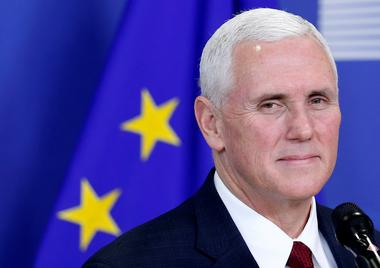 FILE PHOTO: U.S. Vice President Mike Pence briefs the media at the EU...