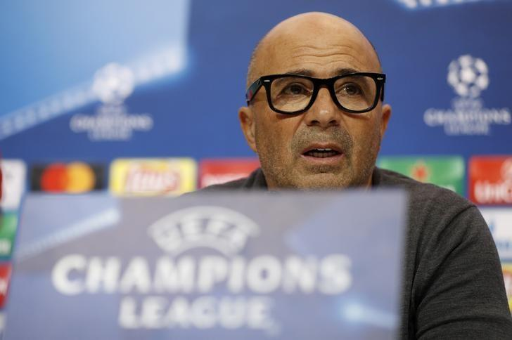 Football Soccer - Sevilla Press Conference - Ramon Sanchez Pizjuan Stadium, Seville, Spain - 21/2/17 Sevilla coach Jorge Sampaoli during the press conference  Action Images via Reuters / John Sibley Livepic