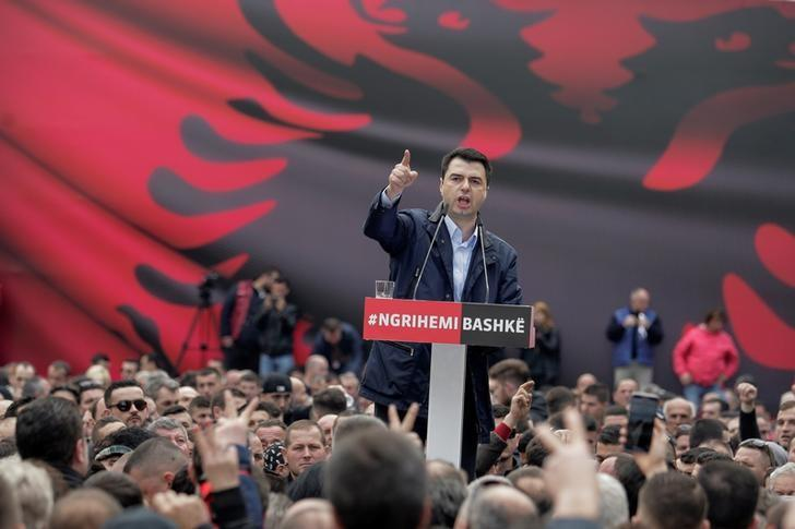 Albania's opposition Democratic Party leader Lulzim Basha speaks to his supporters during a protest against the government in front of Prime Minister Edi Rama's office, in Tirana, Albania February 18, 2017. REUTERS/Florion Goga