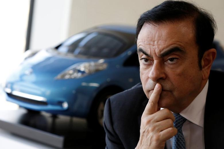 Carlos Ghosn, Chairman and CEO of the Renault-Nissan Alliance, attends an interview with Reuters at Nissan's global headquarters in Yokohama, Japan, February 23, 2017.  REUTERS/Toru Hanai