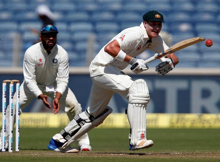 Cricket - India v Australia - First Test cricket match - Maharashtra Cricket Association Stadium, Pune, India - 23/02/17. Australia's Matt Renshaw plays a shot. REUTERS/Danish Siddiqui
