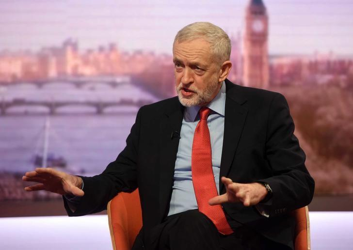 Britain's opposition Labour Party leader Jeremy Corbyn appears on the BBC's Andrew Marr Show in this photograph received via the BBC in London, Britain January 15, 2017. Jeff Overs/BBC/Handout via REUTERS