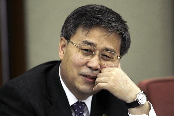 2010年5月,时任中国建行董事长的郭树清在北京接受采访的资料图。REUTERS/Jason Lee