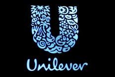 The company logo for Unilever is displayed on a screen on the floor of the New York Stock Exchange (NYSE) in New York, U.S., February 17, 2017.     REUTERS/Brendan McDermid/File Photo