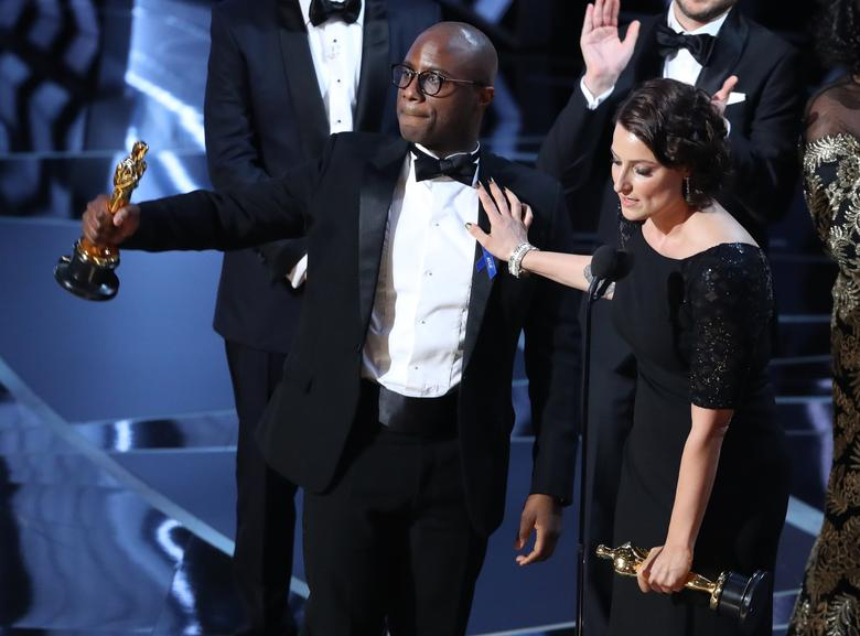89th Academy Awards - Oscars Awards Show - Director Barry Jenkins and producer Adele Romanski celebrating the best picture win for ''Moonlight.'' REUTERS/Lucy Nicholson