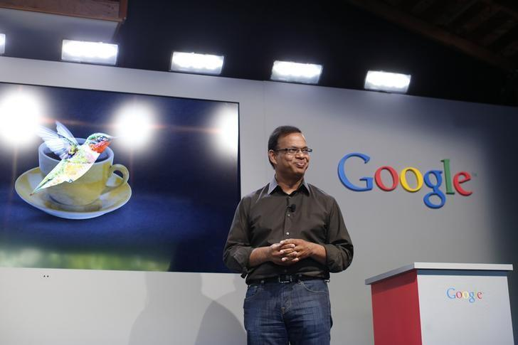 Amit Singhal, senior vice president of search at Google, introduces the new 'Hummingbird' search algorithm at the garage where the company was founded on Google's 15th anniversary in Menlo Park, California September 26, 2013. REUTERS/Stephen Lam/Files