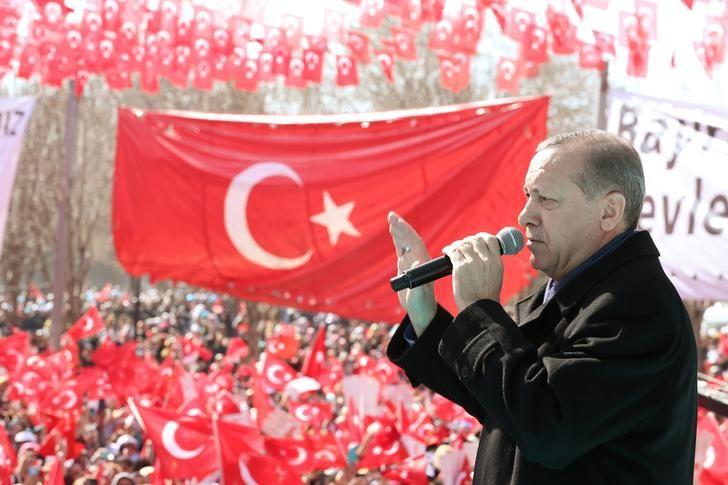 Turkish President Tayyip Erdogan makes a speech during an opening ceremony in the southeastern city of Gaziantep, Turkey, February 19, 2017.  Yasin Bulbul/Presidential Palace/Handout via REUTERS
