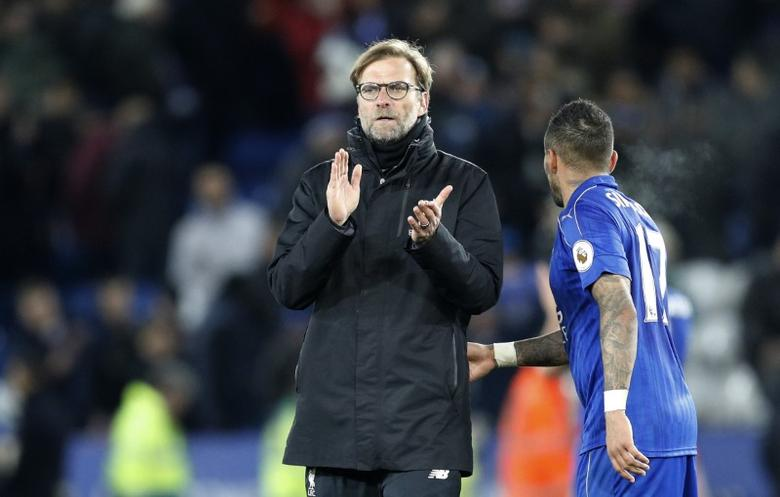 Britain Football Soccer - Leicester City v Liverpool - Premier League - King Power Stadium - 27/2/17 Liverpool manager Juergen Klopp applauds fans after the game Reuters / Darren Staples/ Livepic/ Files
