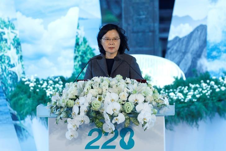 Taiwan President Tsai Ing-wen gives a speech during a memorial for the 70th anniversary of the 228 Incident in Taipei, Taiwan February 28, 2017. REUTERS/Tyrone Siu