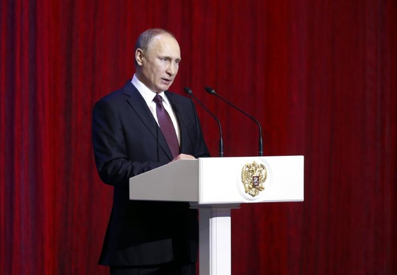Russian President Vladimir Putin delivers a speech before a concert marking the Defender of the Fatherland Day at the Kremlin in Moscow, Russia February 23, 2017. REUTERS/Maxim Shipenkov