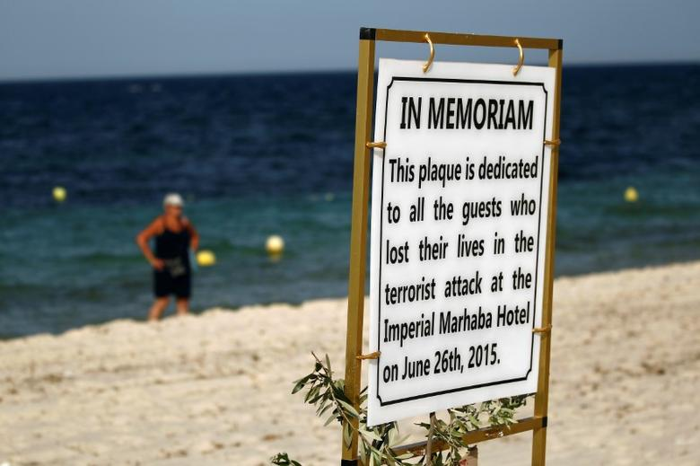 A plaque dedicated to victims is pictured on the beach of the Imperial Marhaba resort, on the first anniversary of an attack by a gunman at the hotel in Sousse, Tunisia June 26, 2016.  REUTERS/Zohra Bensemra/Files