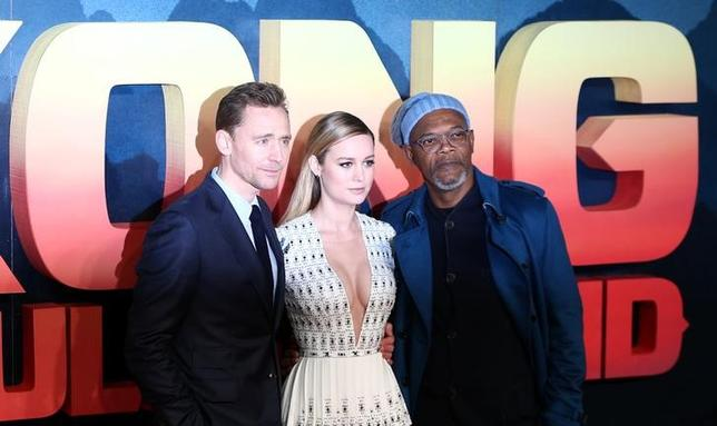 Actors Tom Hiddleston (L), Brie Larson (C) and Samuel L Jackson pose for photographers at the European Premiere of Kong: Skull Island in London, Britain February 28, 2017. REUTERS/Neil Hall
