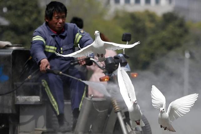 3月1日、世界保健機関(WHO)は、H7N9型鳥インフルエンザが中国で人から人へ感染するリスクは低いものの、人への感染が増加していることは懸念され、継続的な監視が必要との見解を示した。写真は上海で2013年4月撮影(2017年 ロイター/Aly Song)