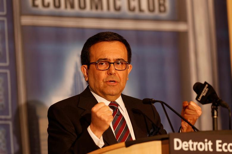 Ildefonso Guajardo Villarreal, Mexico Minister of Economy, addresses the Detroit Economic Club in Detroit, Michigan, U.S., March 3, 2017. REUTERS/Rebecca Cook