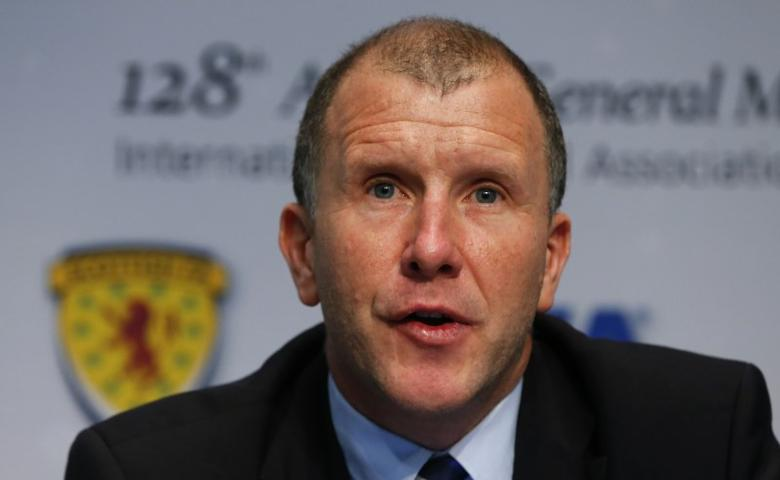 Stewart Regan, CEO of the Scottish Football Association addresses a news conference after a meeting of the International Football Association Board (IFAB) at the the FIFA headquarters in Zurich March 1, 2014.  Reuters/Arnd Wiegmann
