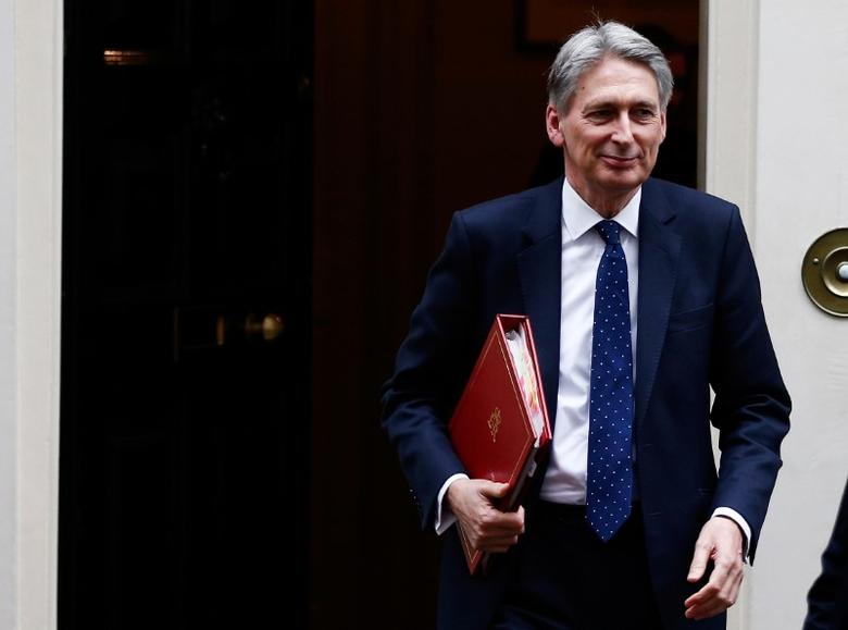FILE PHOTO: Britain's Chancellor of the Exchequer Philip Hammond leaves 11 Downing Street, London, January 31, 2017. REUTERS/Peter Nicholls/File Photo