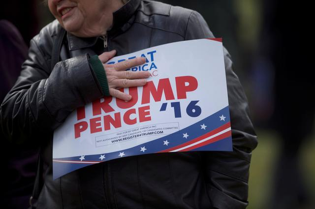 Supporters of President Trump gather for a ''People 4 Trump'' rally at Neshaminy State Park in Bensalem, Pennsylvania. REUTERS/Mark Makela