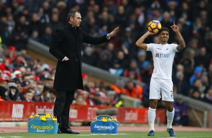 Britain Soccer Football - Liverpool v Swansea City - Premier League - Anfield - 21/1/17 Swansea City manager Paul Clement and Kyle Naughton  Reuters / Phil Noble Livepic/File Photo